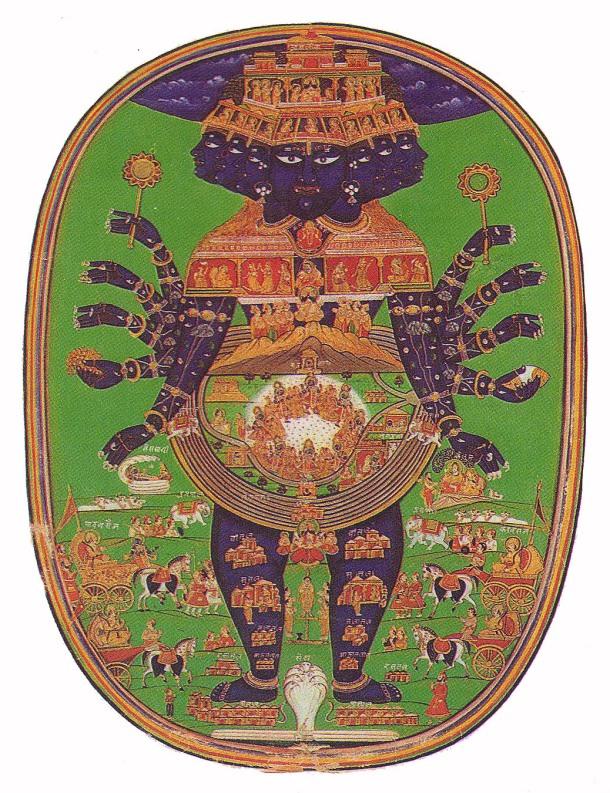 Durante la guerra de Kurus contra Pandavas, Krishna, ante un Arjuna desfallecido, le muestra el universo entero en su própio cuerpo. Baghavat Gita.