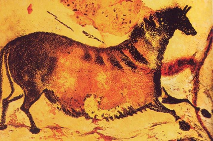 Pintura Paleolítica de hace 30.000 años a.C., descubierta en las cuevas de Lascaux - Francia