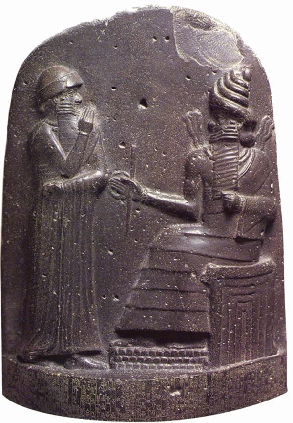detalle de una estela de diorita, en el que esta escrito el Código de Hammurabi. Las primeras leyes, en la antigua babilonia. 1750 a.C.