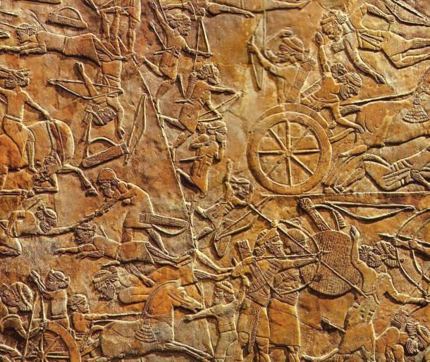Relieve de la batalla de Ulai, entre el ejército asírio de Assurbanipal y los soldados Elamitas. Siglo VII a.C.