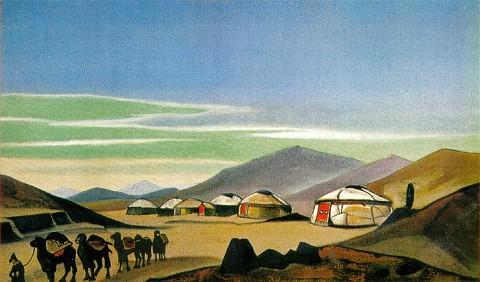 Yurtas de Mongolia. Pintura de Nicolas Roerich.